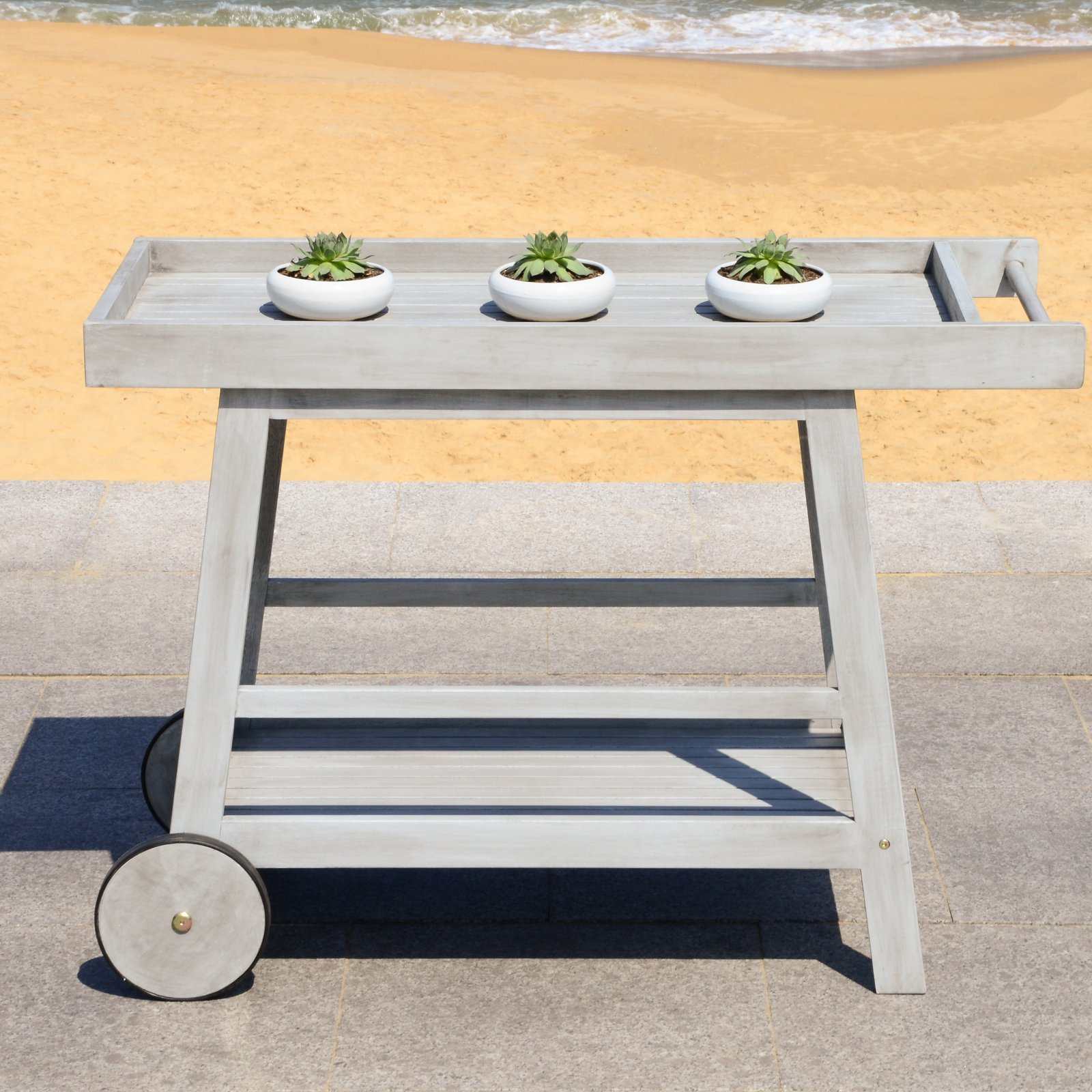 Safavieh Renzo 2 Tier Outdoor Farmhouse Wooden Bar Cart