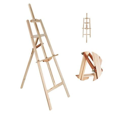 Zimtown Portable Durable Artist Wooden Easel Stand Floor Studio Aluminum Tripod Adjule Height