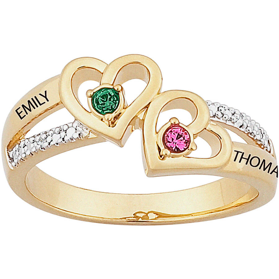 Personalized 14kt Gold over Sterling Silver Couples Heart Birthstone & Name Diamond Accent Ring