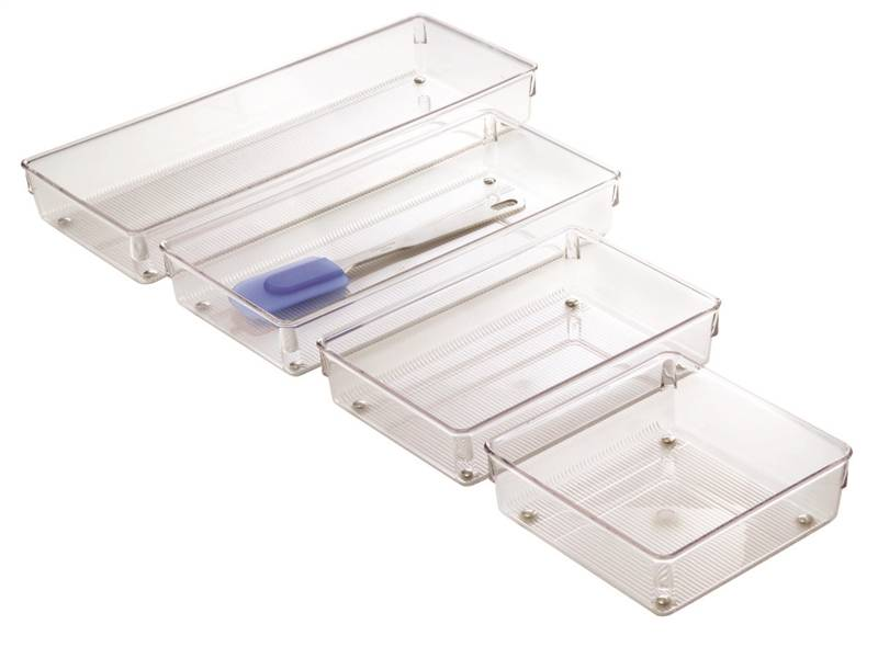Linus 52660 Drawer Organizer, 15 in L x 6 in W x 2 in H, Plastic, Clear by INTERDESIGN