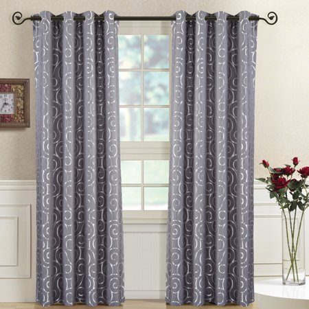 Tuscany Petal (Set of 2 Curtain Panels With Grommets Tuscany Abstract Jacquard Window Treatment Set - 104 x 84