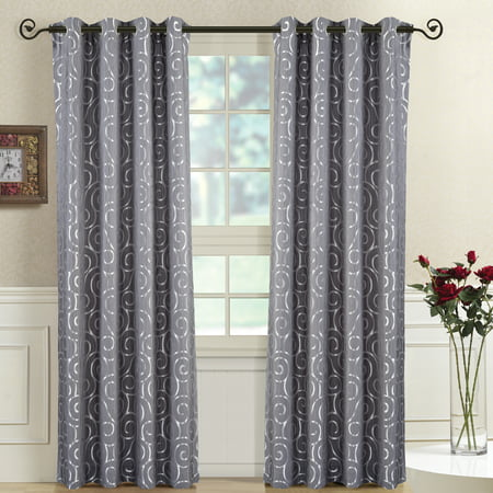 4aa64c7bce2 Tuscany Top Grommet Abstract Jacquard Window Curtain Panels Pair (Set of 2)  - Walmart.com