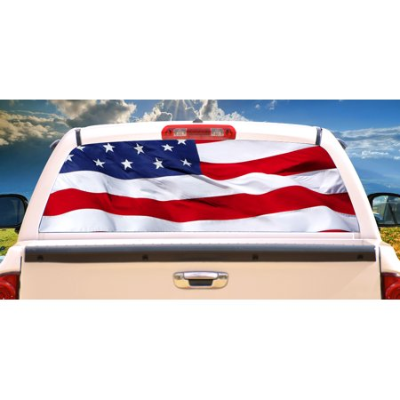 AMERICAN FLAG Rear Window Graphic truck view thru vinyl decal back