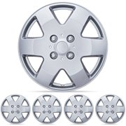 """BDK Hubcaps 15"""" 4 Pieces, Silver, New Design, Snap-On Installation"""