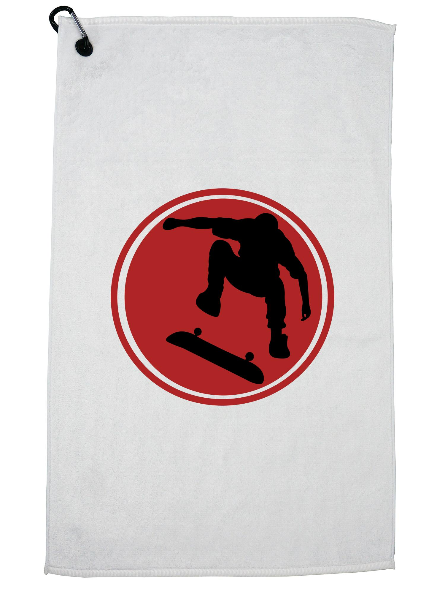 Red Skateboard Skater Silhouette Jumping Golf Towel with Carabiner Clip by Hollywood Thread