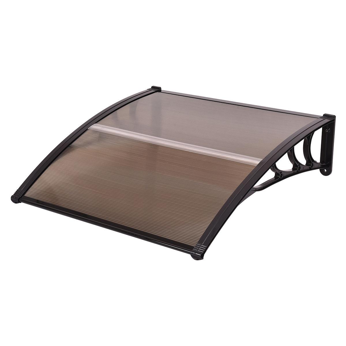 """Costway 40""""x 40"""" Window Awning Door Canopy Outdoor Front Door dark brown - image 1 of 6"""