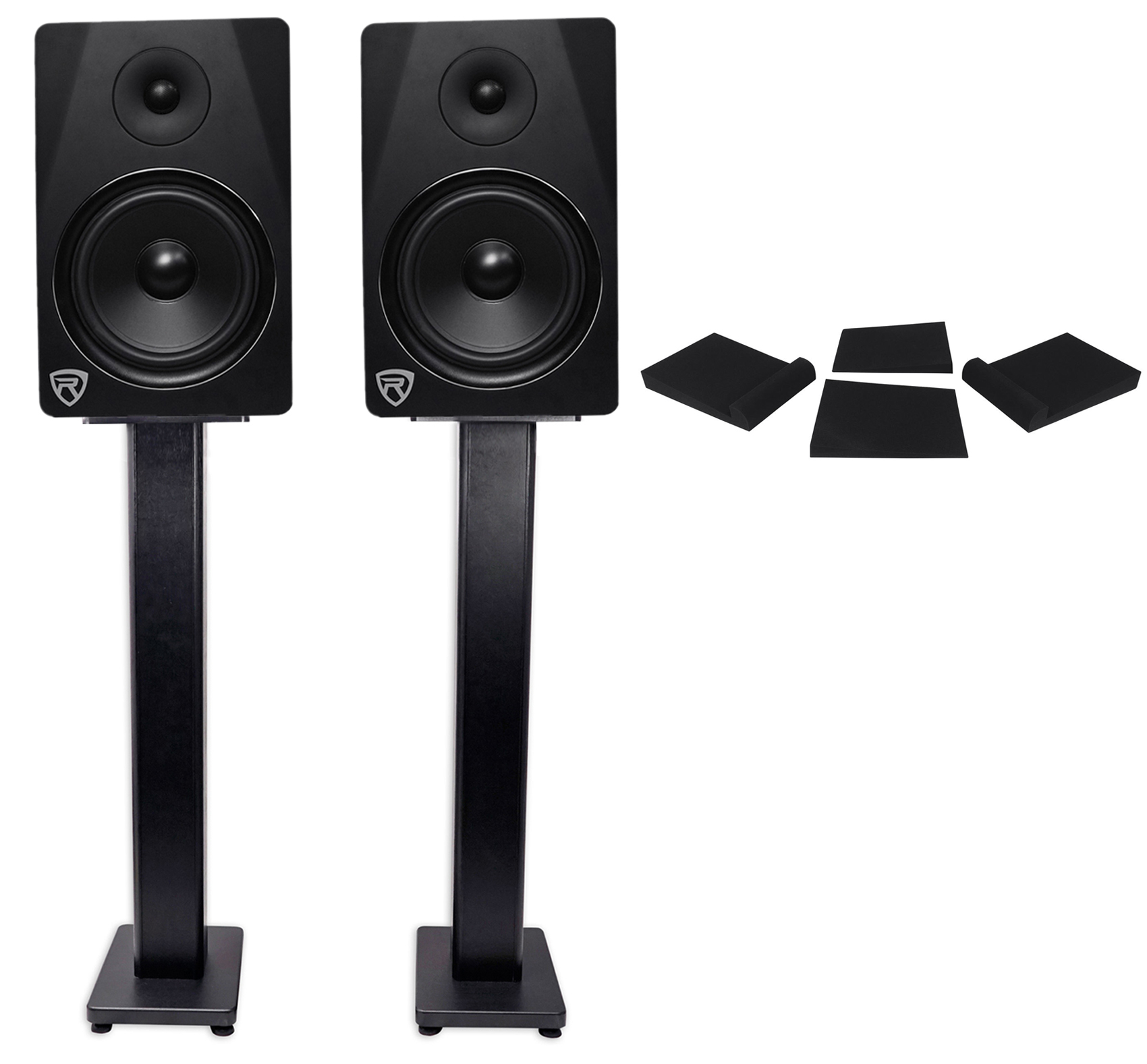"2) Rockville DPM8B Dual Powered 8"" 600 Watt Active Studio Monitors+Stands+Pads by ROCKVILLE"
