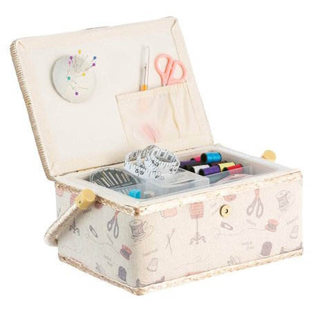 StorageMaid Sewing Basket with Bonus Travel Kit – All Essential Mending Supplies –DIY Darning Supplies Organizer Filled with Scissors, Thimble, Thread, Sewing Needles, Tape Measure and - Sewing Supplies Wholesale