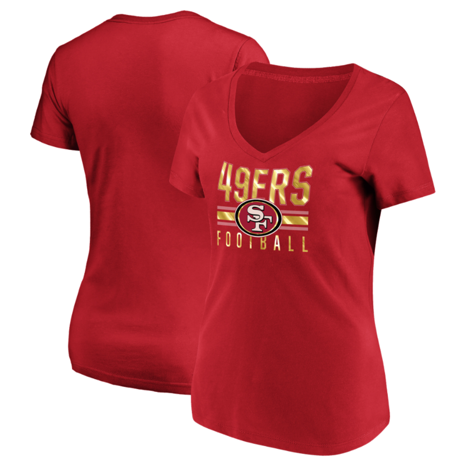 Women's Majestic Scarlet San Francisco 49ers Game Day Style V-Neck T-Shirt