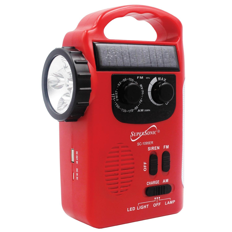 Supersonic 5-Way Emergency Solar/Hand Crank Radio