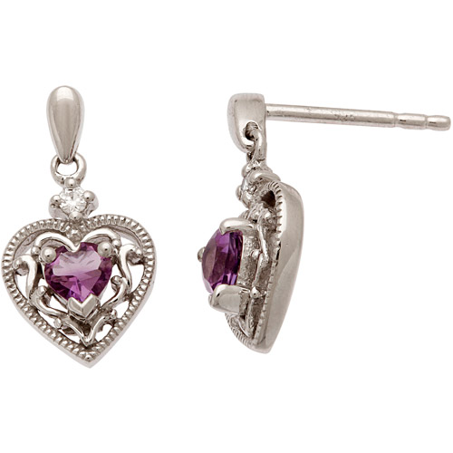 CZ and Amethyst Milgrain Sterling Silver Earrings