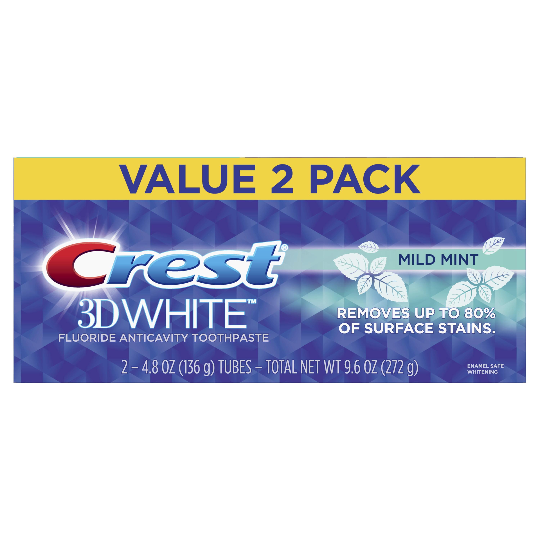Crest 3D White Whitening Toothpaste, Mild Mint, 4.8 oz, Pack of 2