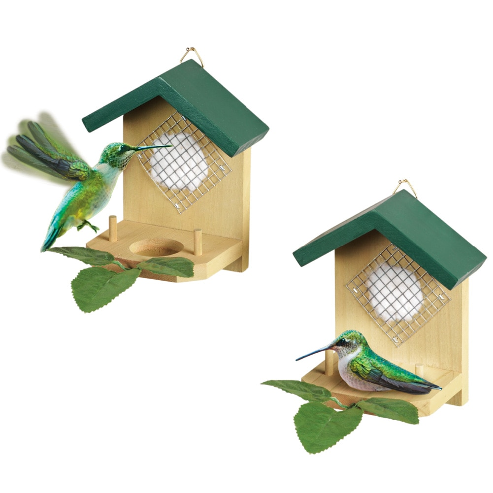 Hanging Hummingbird House and Leaf Nesters - Set of 2, Beige, Beige
