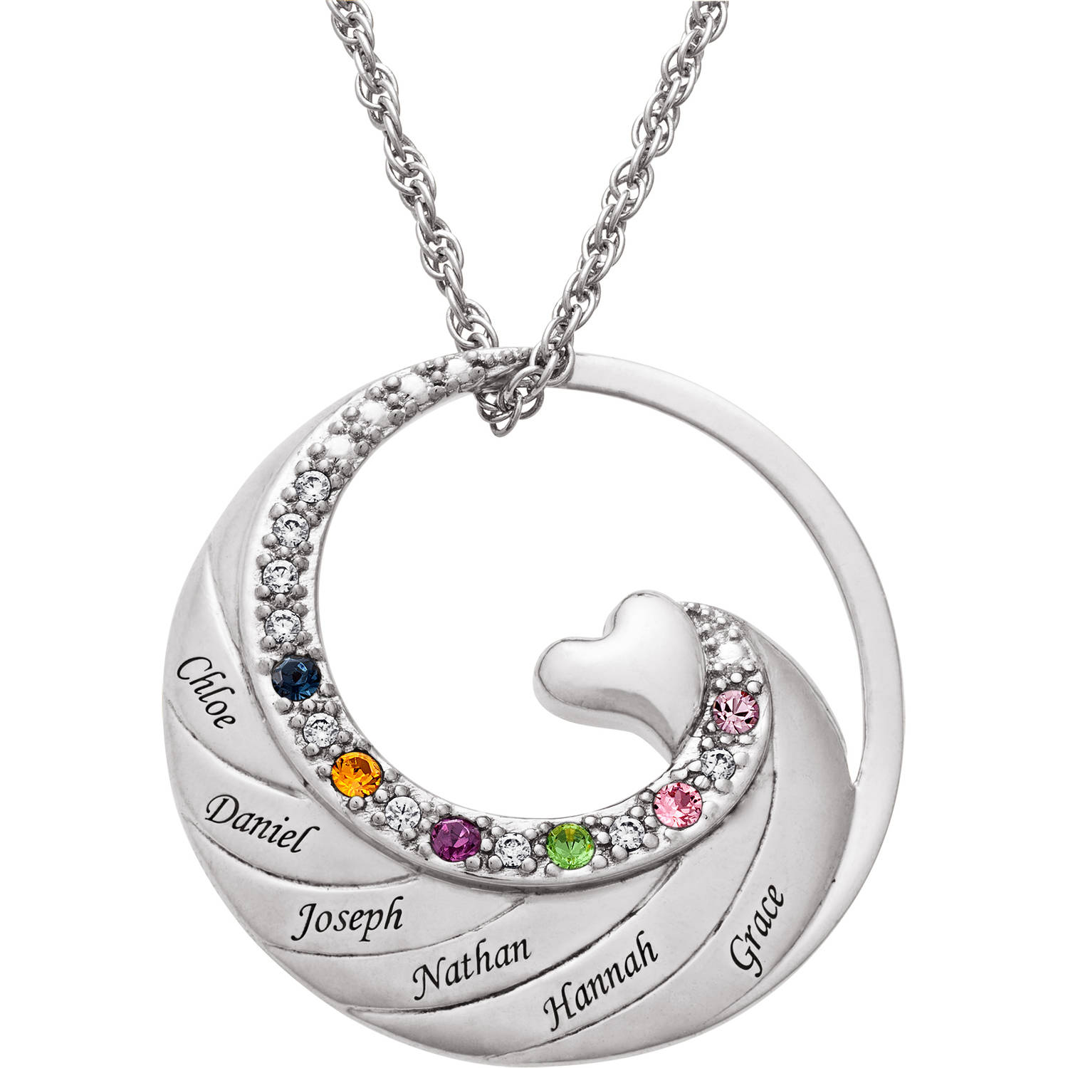 Personalized Women's Gold-Plated or Rhodium-Plated Family Name and Birthstone Circle with Heart Necklace, 20