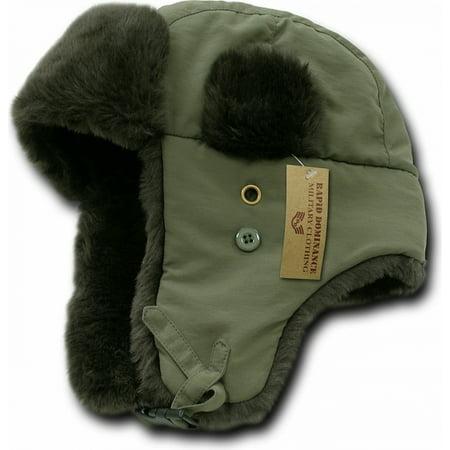 RapDom Faux Fur Trooper Aviator Mens Hat [Olive Green - L/XL]