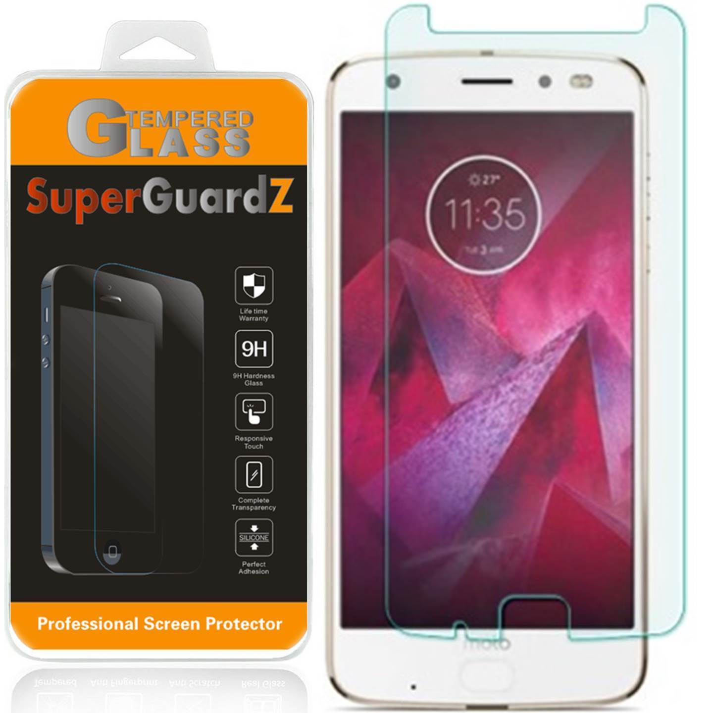 [3-Pack] For Motorola Moto Z2 Force Edition - SuperGuardZ Tempered Glass Screen Protector, 9H, Anti-Scratch, Anti-Bubble, Anti-Fingerprint