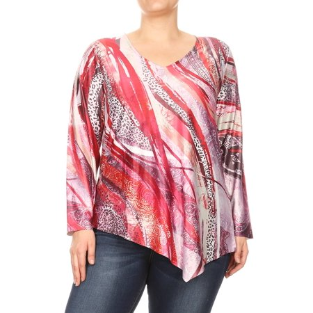 Women Plus Size Abstract Design Long Sleeve Leopard Blouse Tunic Top Red 1XL (SE17025-1) Red Long Tunic