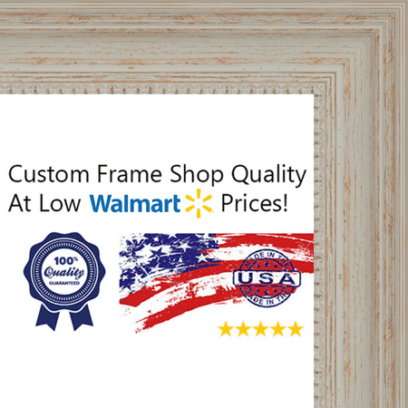 11x17 - 11 x 17 Traditional - Nautical White Washed Wood Frame Solid ...