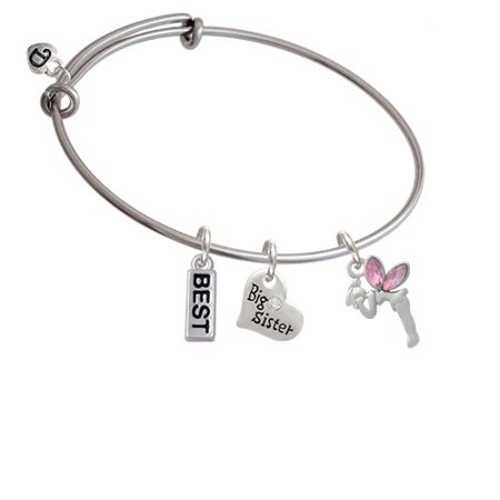 Small Fairy with Pink Wings Big Sister Heart Expandable Bangle Bracelet