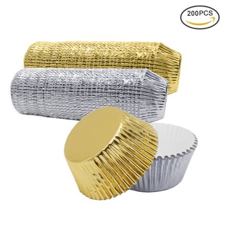 Paper Cupcake Baking Cups (Uarter Paper Cupcake Cup Aluminium Foil Muffin Baking Cups Liners Cupcakes Case, Set of 200, Silver and)