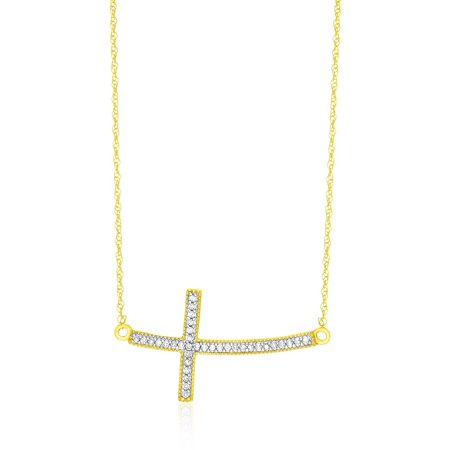 - 14K Yellow Gold Curved Cross Diamond Embellished Necklace - 18