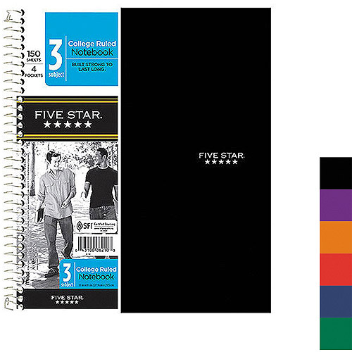 Mead Five Star 3-Subject Notebook, Four Pockets, College Rule, 150 Sheets, Colors May Vary