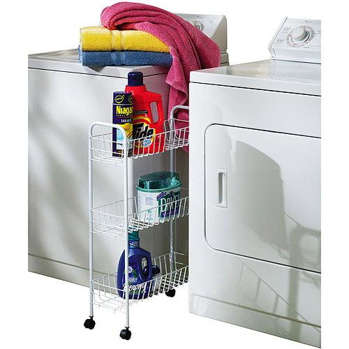 Household Essentials 3-Tier Slimline Rolling Rack, White by Household Essentials LLC
