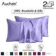 "2 Pack Satin Silk Pillowcase for Hair and Skin, Ultra Silky Satin Pillow Covers with Envelope Closure, Both Sides Artificial Silk, Multiple Colors and Sizes - Standard Size (20""x26"")  Lilac"