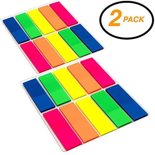 """Emraw Colorful Sticky Coding Flags Page Markers Index Tabs, 0.5"""" X 1.7"""" Neon Bright Colored Self Stick Removable Stick It Indexing Flags - Pack of 20 Pads (500 Sheets)"""