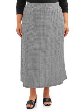 Terra & Sky Women's Plus Size Plaid Sueded Skirt
