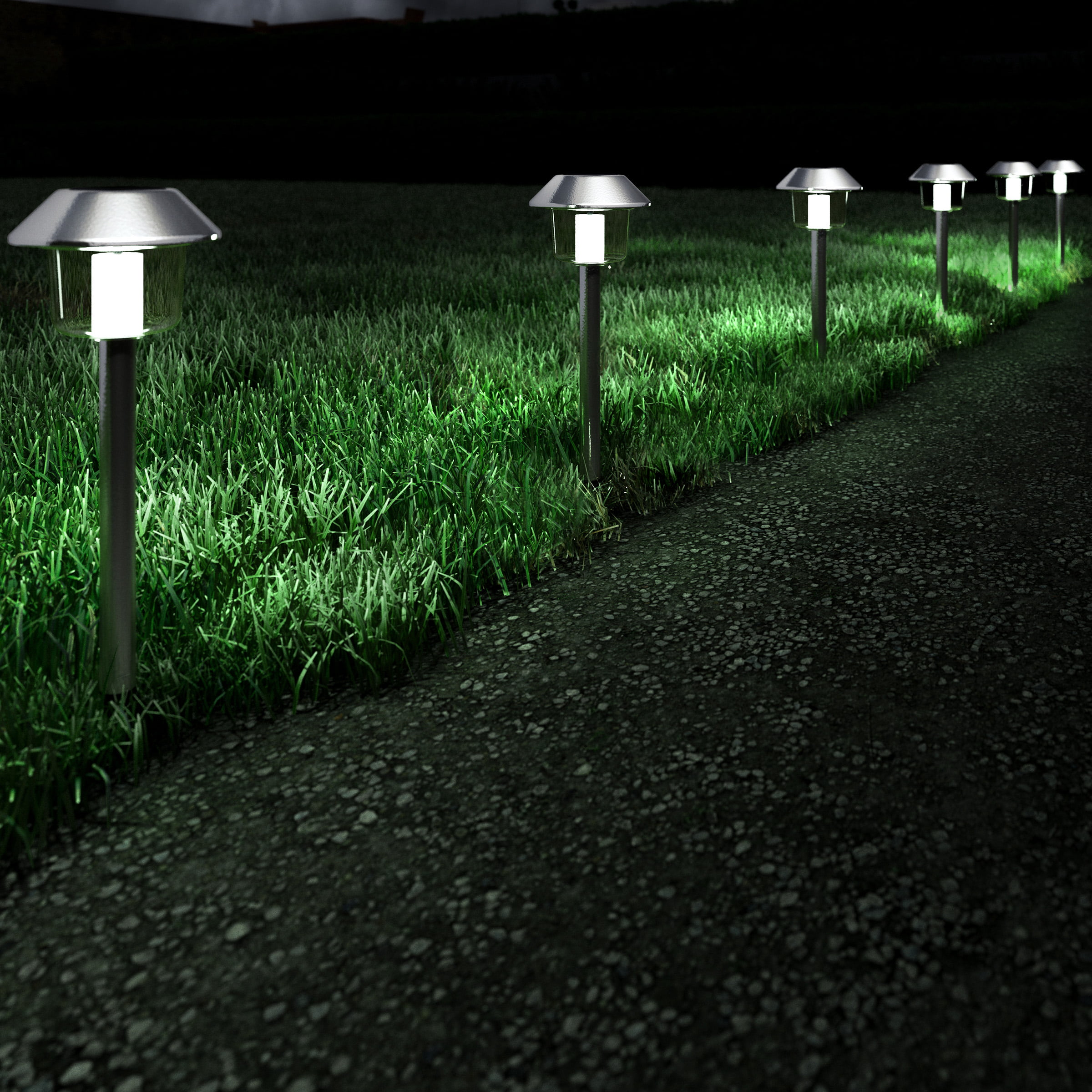 Solar Pathway Lights 17 Stainless Steel Outdoor Stake Lighting For Garden Landscape Yard Patio Driveway Walkway Set Of 6 By Pure