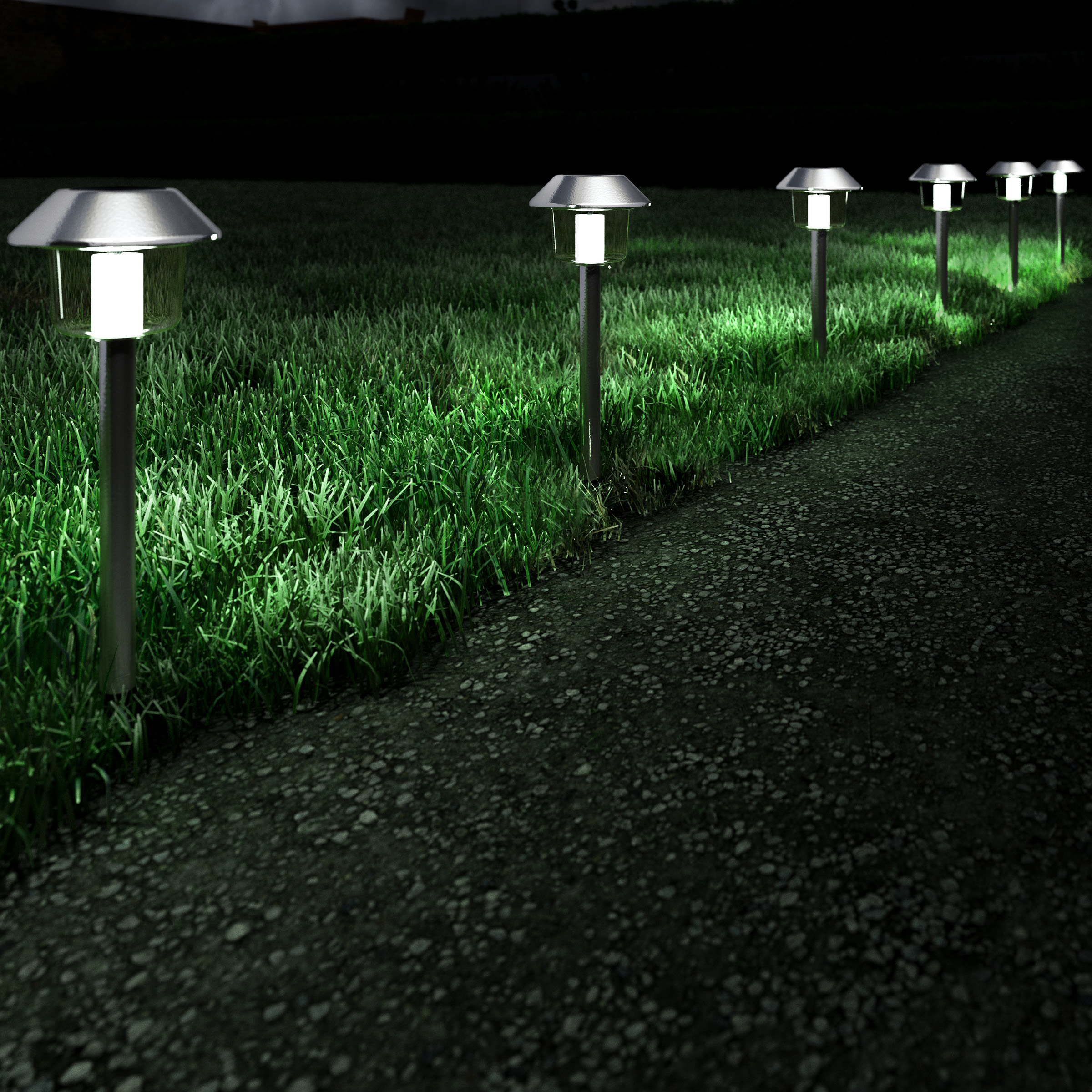 """Solar Pathway Lights- 17"""" Stainless Steel Outdoor Stake Lighting for Garden, Landscape, Yard, Patio, Driveway, Walkway- Set of 6 by Pure Garden"""