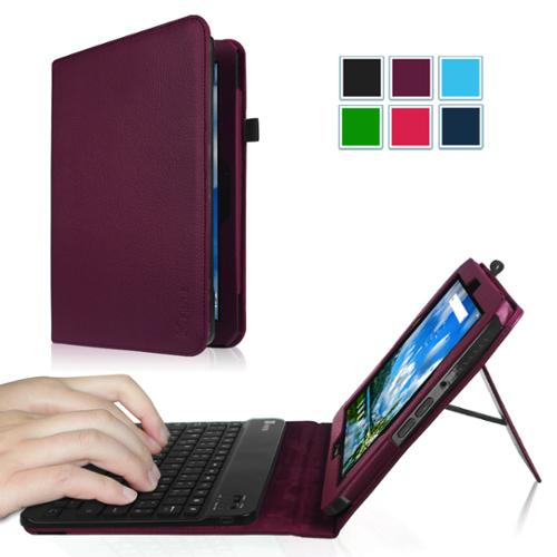 Verizon Ellipsis 10 Keyboard Case - Fintie PU Leather Stand Folio Cover with Removable Bluetooth Keyboard, Purple
