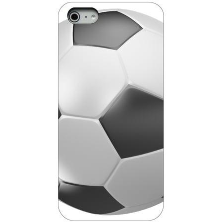 - CUSTOM Black Hard Plastic Snap-On Case for Apple iPhone 5 / 5S / SE - Soccer Ball 3D