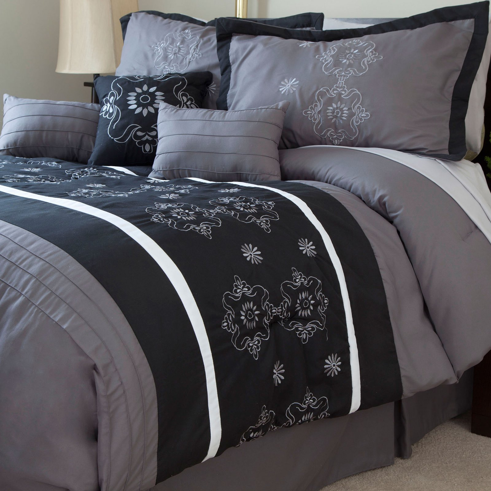 Julia 7 Piece Embroidered Comforter Set by Lavish Home