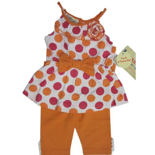 Carter's Baby Girls Orange Pink Dotted Ruffle Flower Bow 2 Pc Pants Set 18M