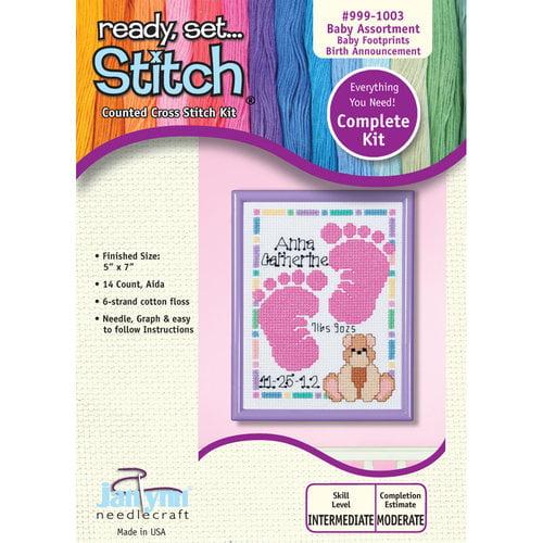 Janlynn 5x7 Footprints Birth Announcement Cross-Stitch Kit