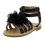 Stepping Stones Baby Girls Black Gladiator Sandals With Chiffon Flower-Size 4 (Girls Dress Sandals) Open Toe Summer Strappy Sandals Infant Toddler Kids Shoes For Baby Girls