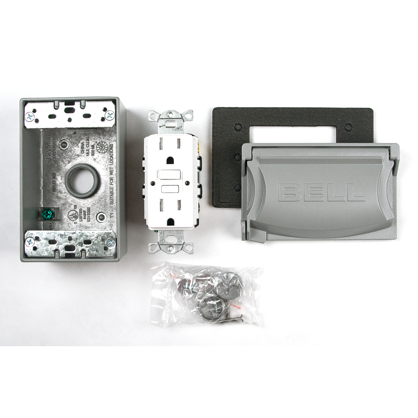Bell Outdoor 5874-5S 15A 120V Gray Weatherproof GFCI Outdoor Outlet Kit