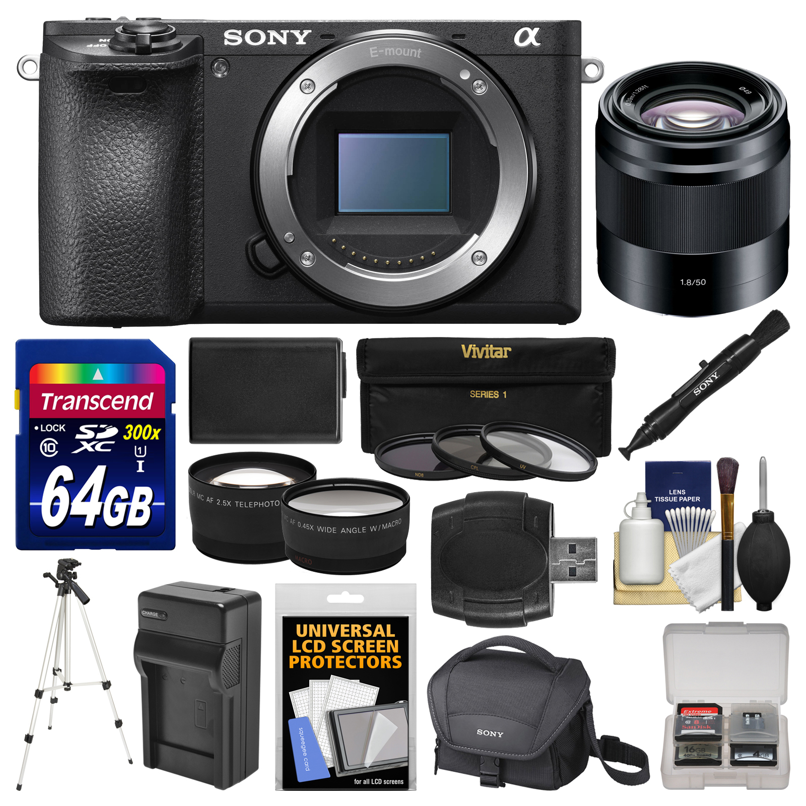 Sony Alpha A6500 4K Wi-Fi Digital Camera Body with 50mm f/1.8 Lens + 64GB Card + Case + Battery & Charger + Tripod + Tele/Wide Lens Kit
