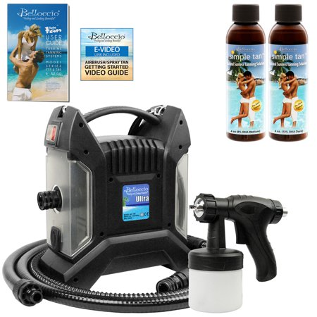 Belloccio ULTRA PRO Sunless Airbrush SPRAY TANNING SYSTEM 2 Simple Tan Solutions