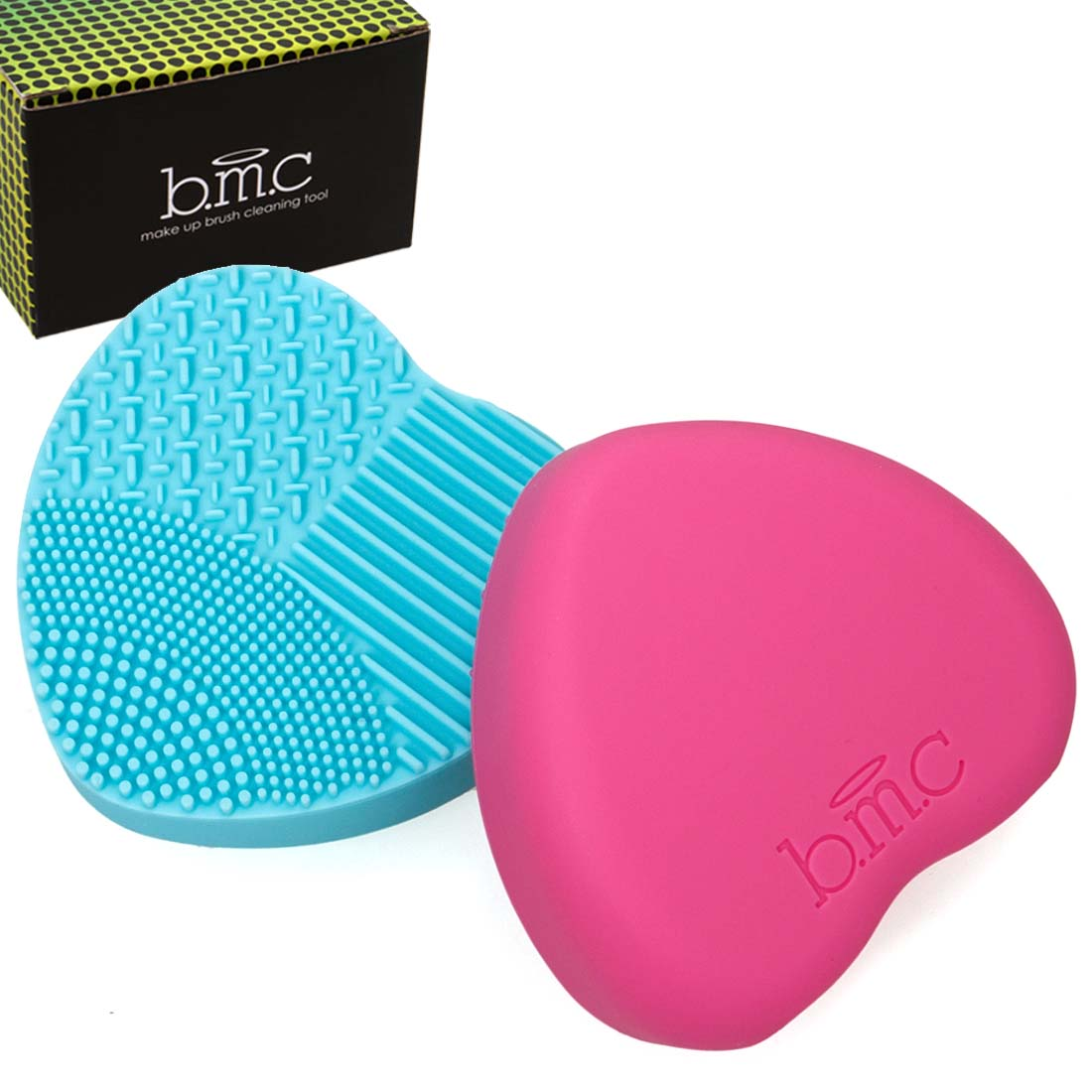 BMC 2pc Heart Shaped Silicone Multi Texture Surface Make Up Brush Cleaning Tool Set