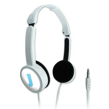 (Letter J Initial Baby Boy Block Font Blue Shower Novelty Travel Portable On-Ear Foldable Headphones)