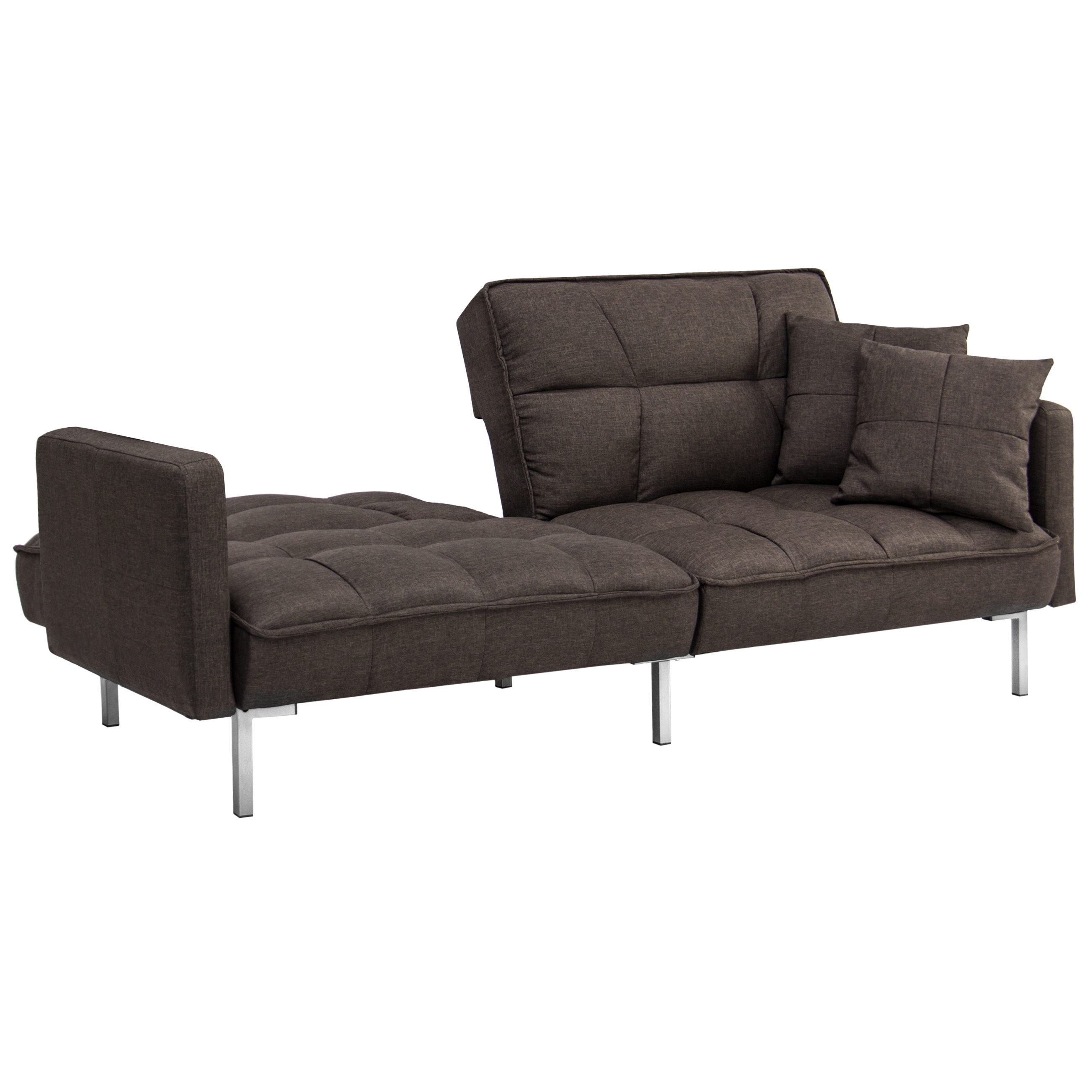 Convertible Futon Split Back Couch Sleeper Sofa Tufted Brown Linen With Pillows