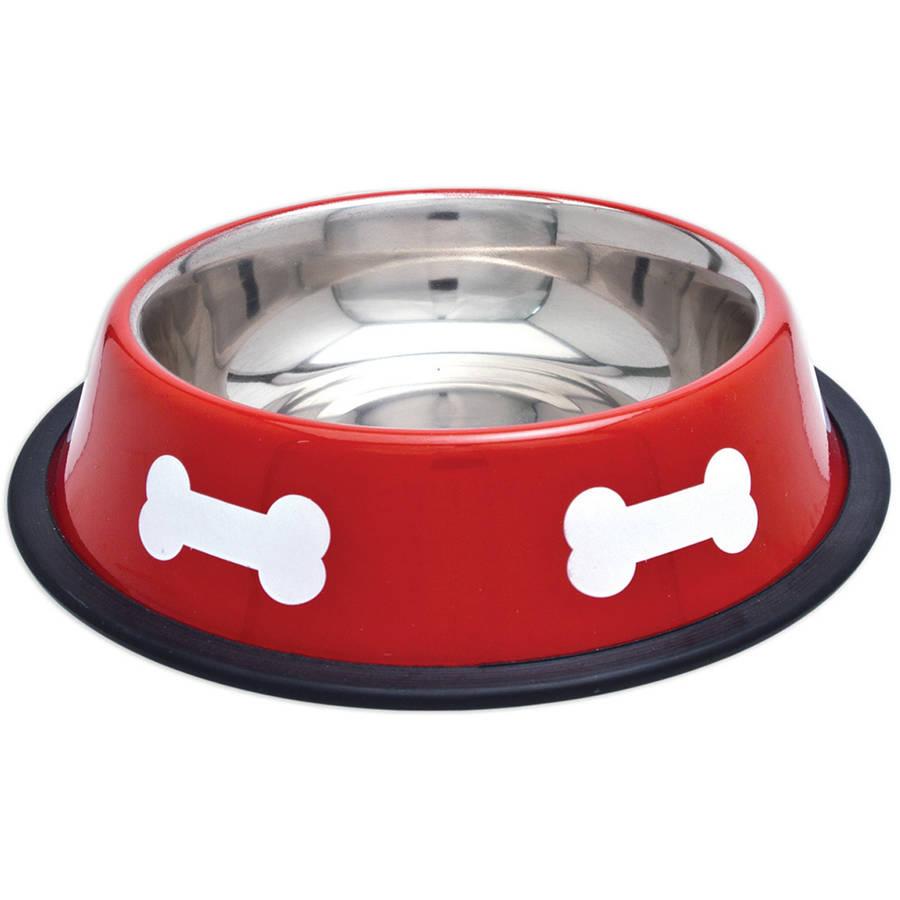 Fashion Steel Bowl Red with White Bones, 16 oz