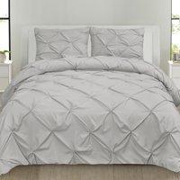 Luxury 3 Piece Pinch Pleat Pintuck Microfiber Duvet Cover and Pillow Sham Set