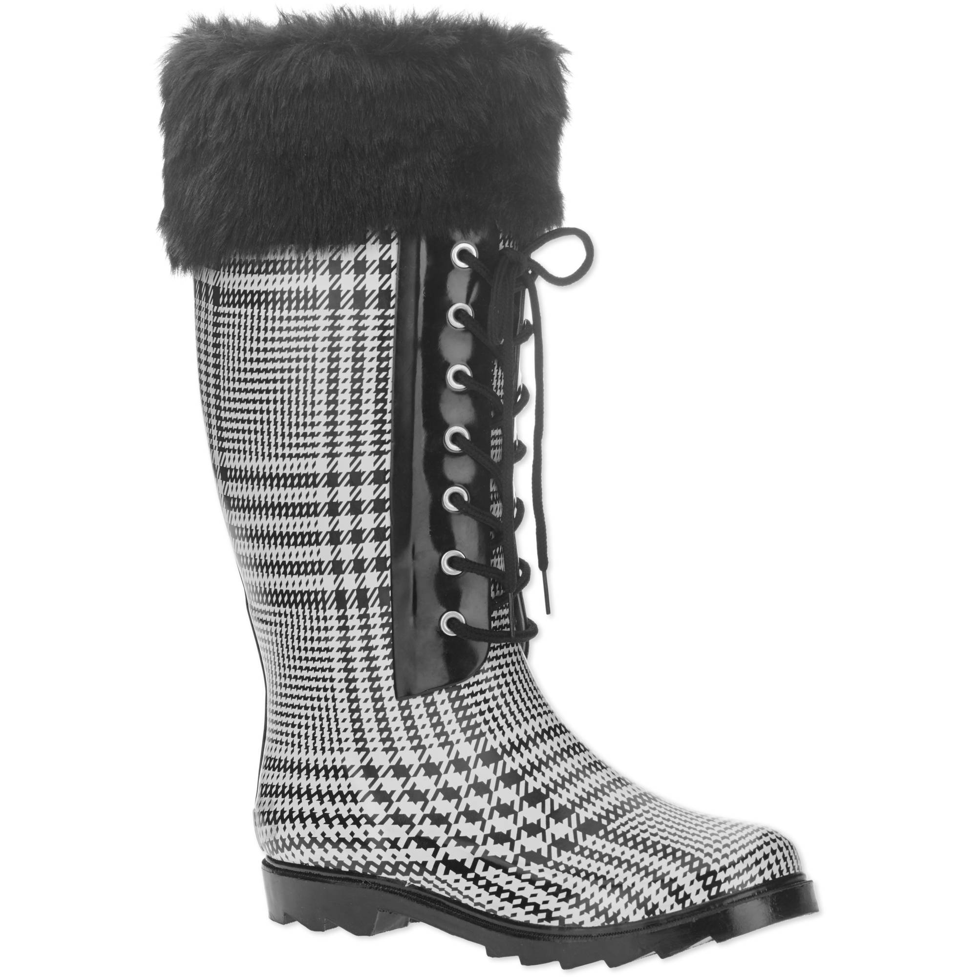 Forever Young Women's Faux Fur Lace-up Checkered Tall Rain Boot
