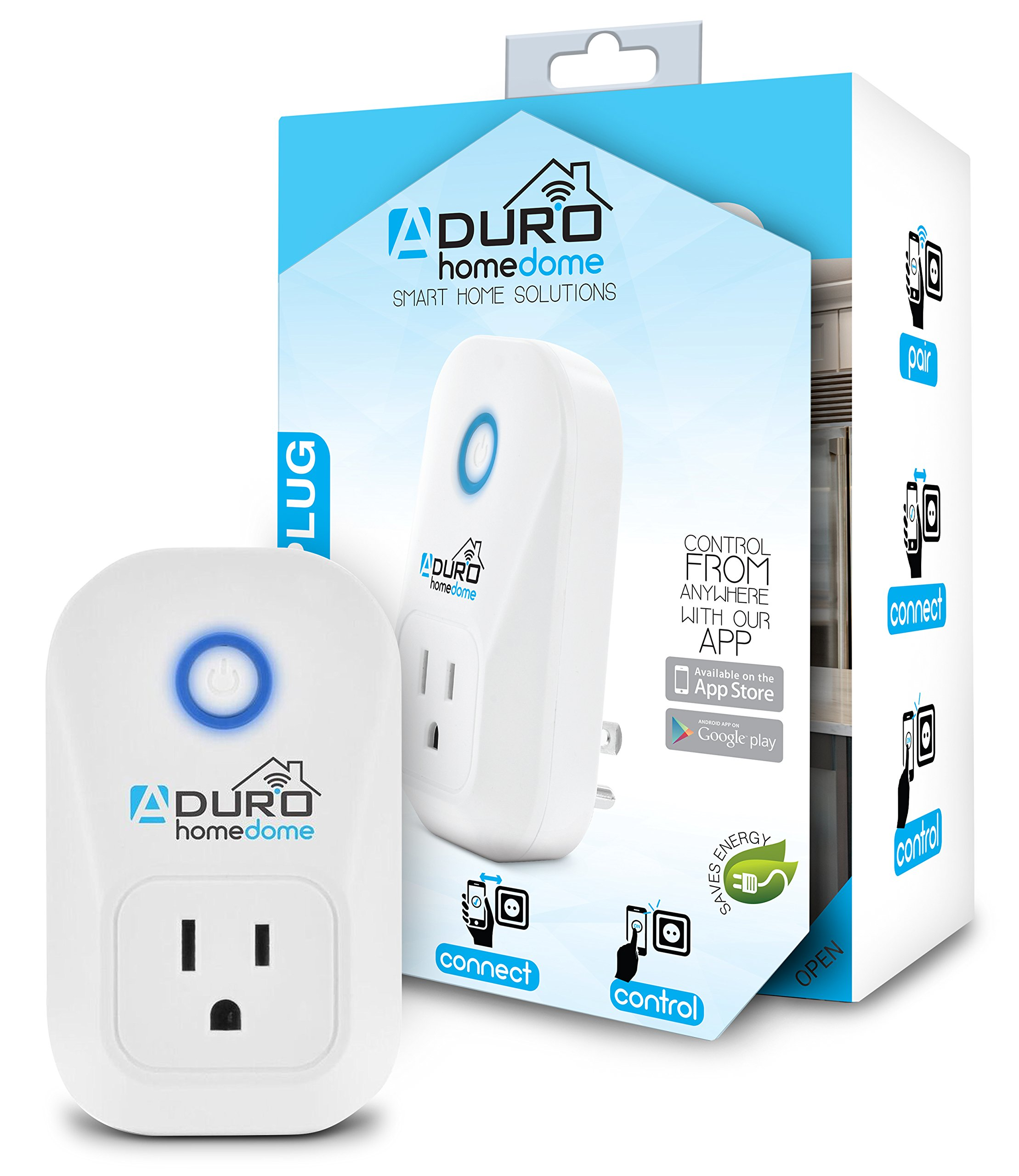 Aduro WiFi Smart Plug Outlet App Controlled Socket, Works with Amazon Alexa  Echo and Google Home Assistant, Automate with IFTTT, Built-in Timer, No