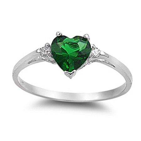 Dogtown Rat Ring - CHOOSE YOUR COLOR Sterling Silver Simulated Emerald Heart Ring Love Ring Love Band Solid 925