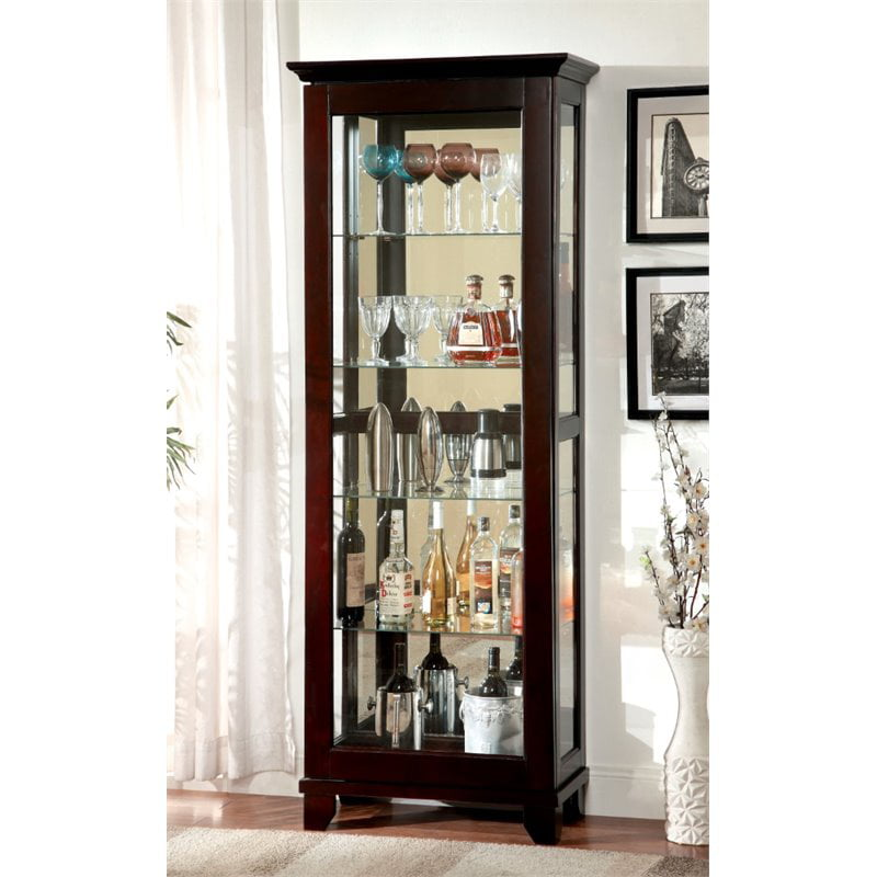 Furniture of America Phillip 5 Shelf Curio Cabinet in Dark Walnut by Furniture of America